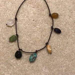 "8 1/2"" leather necklace w/ stones"